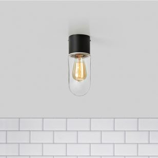 Zen Clear Glass Bathroom Flush Light - Black