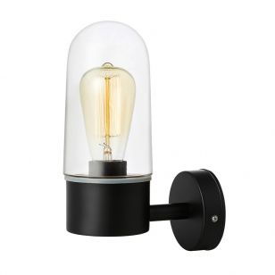 Zen Clear Glass Wall Light - Black
