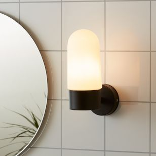 Zen Opal Glass Bathroom Wall Light - Black