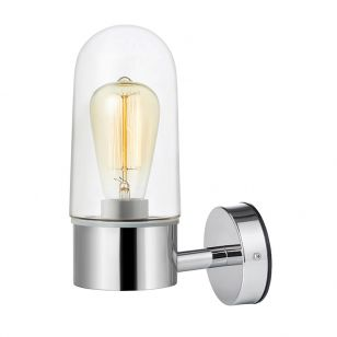 Zen Clear Glass Bathroom Wall Light - Chrome