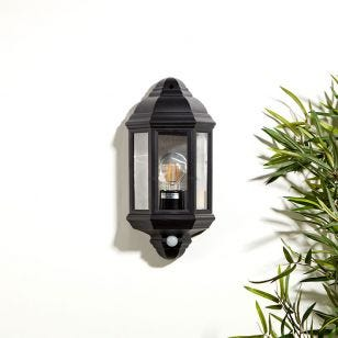 Edit Coastal Newquay Half Lantern Outdoor Wall Light with Dusk to Dawn Sensor - Black