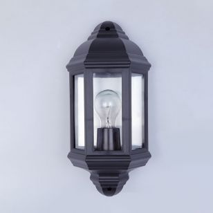 Edit Coastal Newquay Half Lantern Outdoor Wall Light - Black