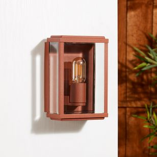 Edit Battersea Half Lantern Outdoor Wall Light - Rust Brown
