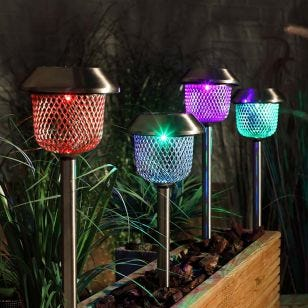 365 Mesh Solar Colour Changing LED Stake Lights - Pack of 4
