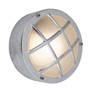 Edit Coastal Fjord Round Outdoor Flush Wall Light - Galvanised Steel