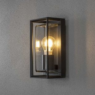 Konstsmide Brindisi Half Lantern Outdoor Wall Light - Black