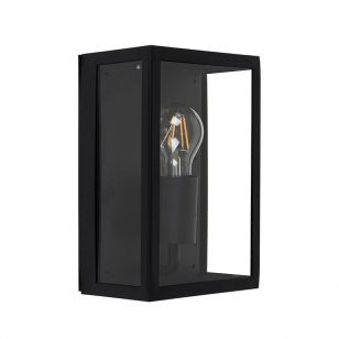 Edit Paddington Half Lantern Outdoor Wall Light - Black