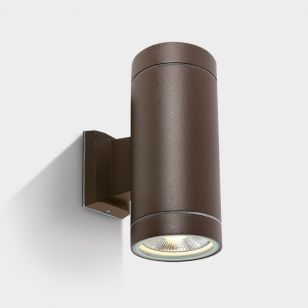 Cylinder Large Outdoor Up & Down Wall Light - Rust Brown