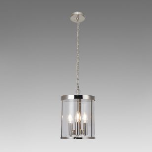 Edit Aria 3 Arm Glass Ceiling Pendant Light - Polished Nickel