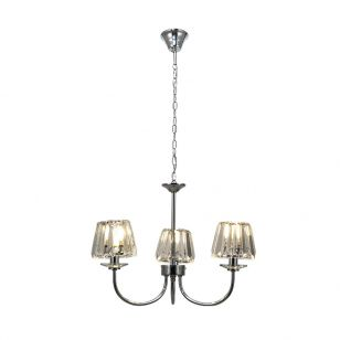 Edit Amelia 3 Arm Glass Ceiling Pendant Light - Polished Chrome
