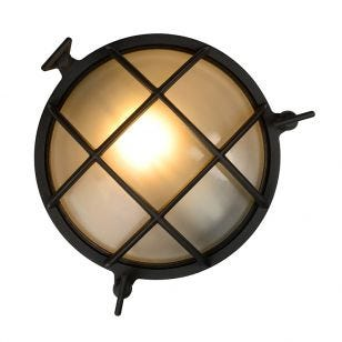 Lucide Dudley Round Outdoor Flush Wall Light - Black