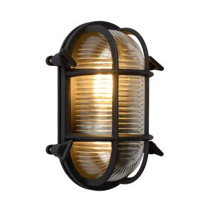 Lucide Dudley Oval Outdoor Flush Wall Light - Black