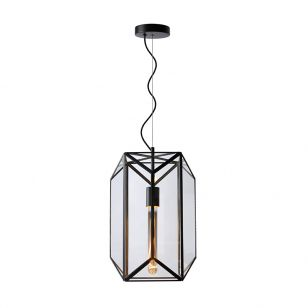 Lucide Fern 280 Glass Ceiling Pendant Light - Black