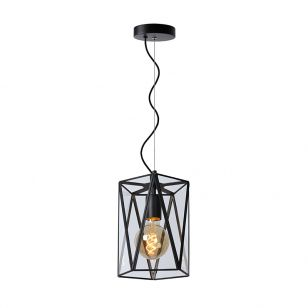 Lucide Fern Pentagon 200 Glass Ceiling Pendant Light - Black