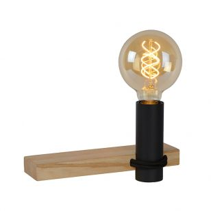 Lucide Tanner Wooden Shelf and Wall Light with Plug - Black