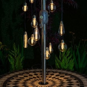 Filament Battery Operated LED Festoon Spiral Chandelier - 15 Lights