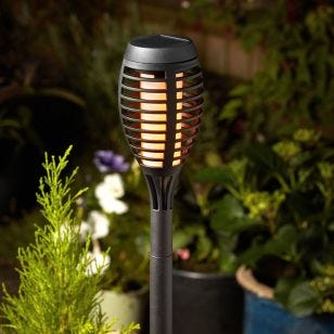 Flame Torch Solar LED Stake Lights - Black - Set of 5