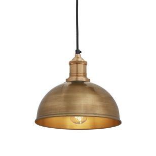 Industville Brooklyn Dome Small Ceiling Pendant Light - Brass