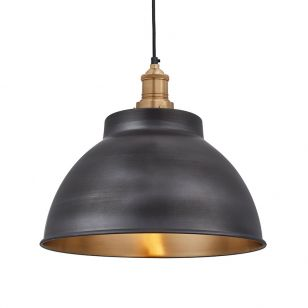Industville Brooklyn Dome Medium Ceiling Pendant Light - Pewter & Brass