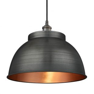 Industville Brooklyn Dome Large Ceiling Pendant Light - Pewter & Copper