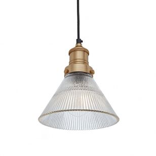 Industville Brooklyn Glass Funnel Ceiling Pendant Light - Brass