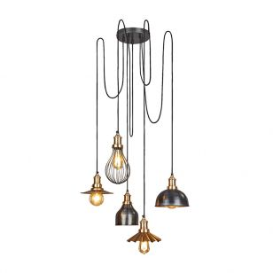 Industville Brooklyn 5 Light Cluster Ceiling Pendant - Pewter & Brass