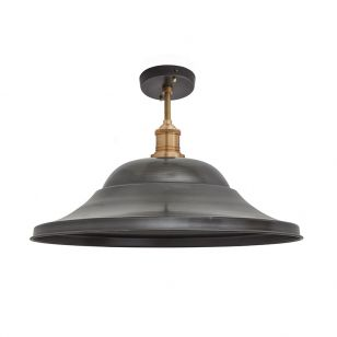 Industville Brooklyn Giant Hat Semi-Flush Ceiling Light - Pewter & Brass