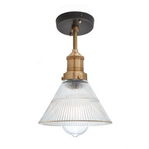 Industville Brooklyn Glass Funnel Semi-Flush Ceiling Light - Pewter & Brass