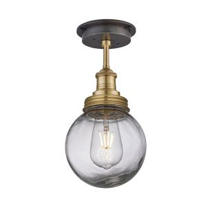 Industville Brooklyn Glass Globe Semi-Flush Ceiling Light - Brass