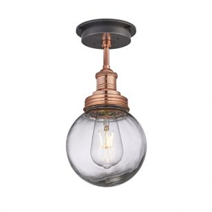 Industville Brooklyn Glass Globe Semi-Flush Ceiling Light - Copper