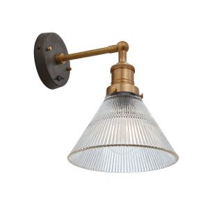 Industville Brooklyn Glass Funnel Wall Light - Brass