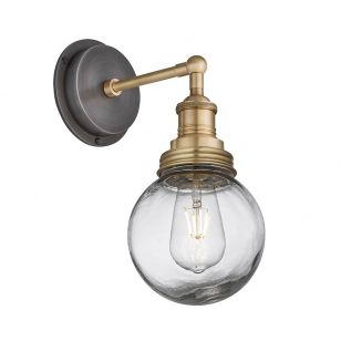 Industville Brooklyn Glass Globe Wall Light - Brass