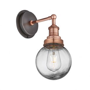 Industville Brooklyn Glass Globe Wall Light - Copper
