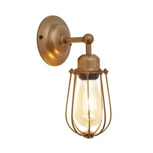 Industville Orlando Wire Cage Wall Light - Brass