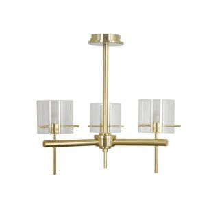 Edit Gene Glass 3 Arm Semi-Flush Ceiling Light - Satin Brass