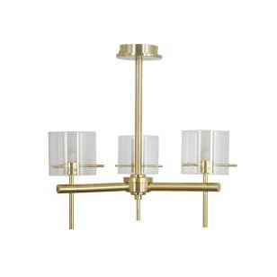 Edit Gene Glass 3 Arm Ceiling Pendant Light - Satin Brass