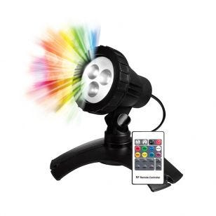 Pond Multi Coloured LED Underwater Spotlight with Remote - Black