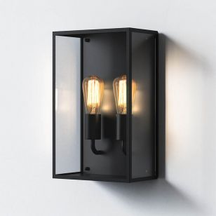 Astro Messina Twin Half Lantern Outdoor Wall Light - Textured Black