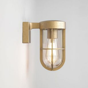 Astro Coastal Cabin Outdoor Wall Light - Brass