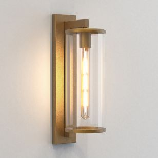 Astro Pimlico 500 Outdoor Lantern Wall Light - Antique Brass