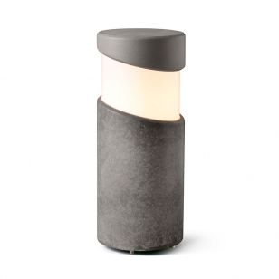 Faro Barcelona Block Outdoor Small Bollard Light - Concrete Grey