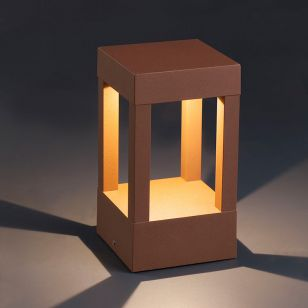 Faro Barcelona Agra LED Outdoor Pedestal Light - Rust Brown