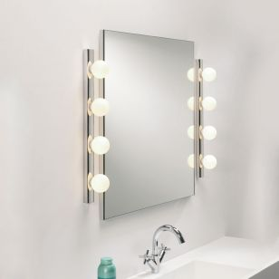 Astro Cabaret 4 Light Glass Mirror Light - Polished Chrome