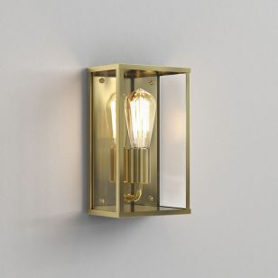 Astro Coastal Homefield Half Lantern Outdoor Wall Light - Natural Brass