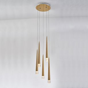 Edit Bead 5 Light LED Cascade Ceiling Pendant - Satin Brass