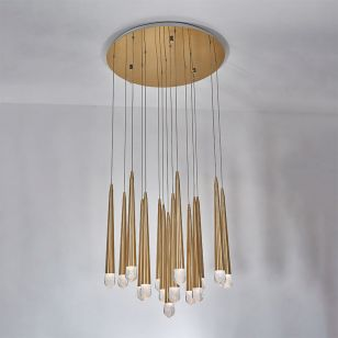 Edit Bead 15 Light LED  Cascade Ceiling Pendant - Satin Brass