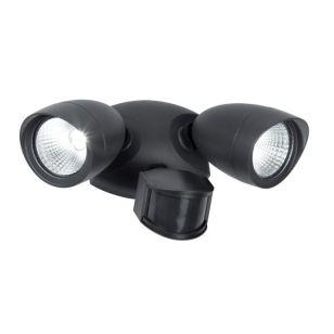Lutec Shrimp 22W LED Twin Outdoor Spotlight with PIR Sensor - Black