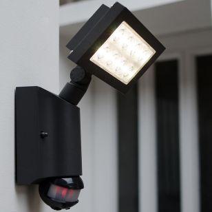 Lutec Nevada LED Solar Wall Light with PIR Sensor - Square