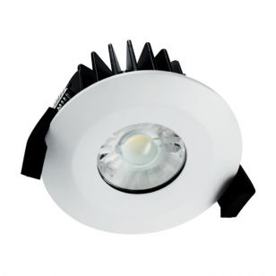 Integral 6W Dimmable Warm White LED Fire Rated Low Profile Fixed Downlight - Matt White