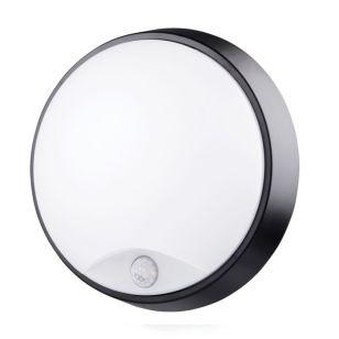 Luceco Eco 10W Cool White LED Round Flush Light with PIR Sensor - Black/White
